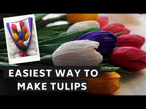 HOW TO MAKE CREPE PAPER TULIPS|DIY PAPER CRAFT|EASY PAPER TULIP TUTORIAL