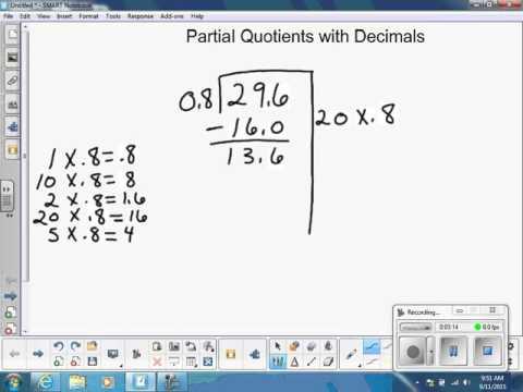 Division: Partial Quotients with Decimals - YouTube
