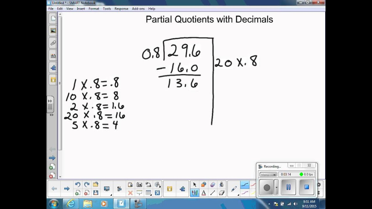 small resolution of Division: Partial Quotients with Decimals - YouTube