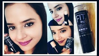 Maybelline Newyork fit me shine free +balance stick foundation review and demo