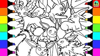 Pokemon Coloring Pages Eevee evolution colouring book fun for kids