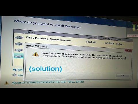The selected disk has an MBR partition table On EFI systems, Windows can  only be installed to GPT