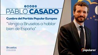 Pablo Casado interviene ante los medios en la cumbre del Partido Popular Europeo