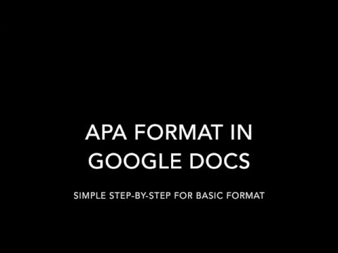 apa format in google docs youtube
