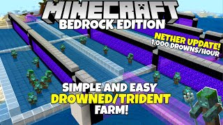 Minecraft Bedrock: EASY Drowned And TRIDENT Farm! 1,000 Drowned/Hour! Nether Update Tutorial