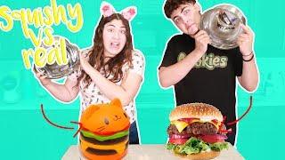 SQUISHY VS REAL FOOD CHALLENGE ~ we ate cactus??