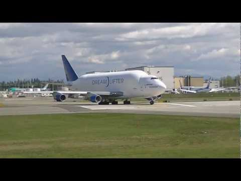 "Boeing Dreamlifter (747) Takeoff and B-25 ""Grumpy"" Fly-By"