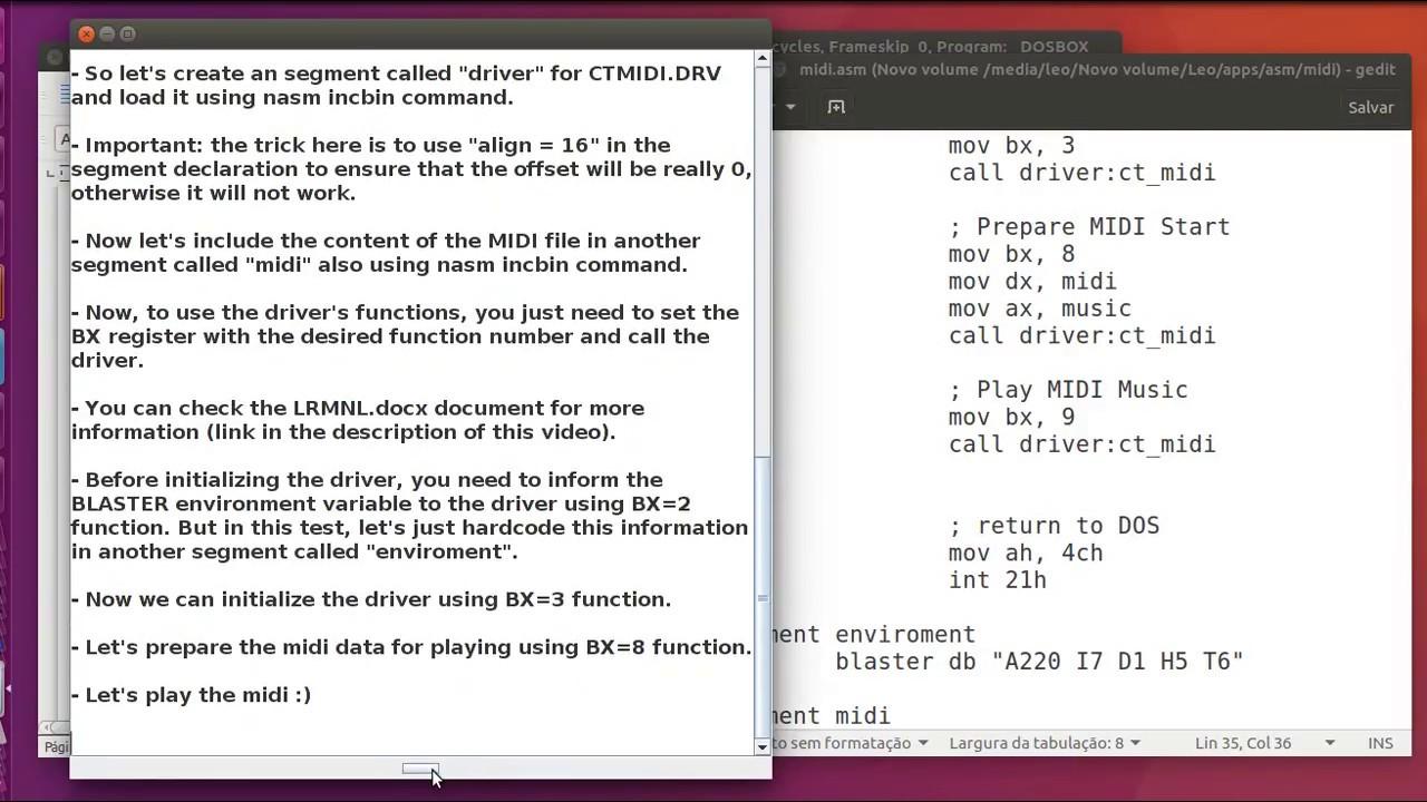 [Assembly 8086 / DOS] - Let's code a program that play MIDI music /  CTMIDI DRV / SB16