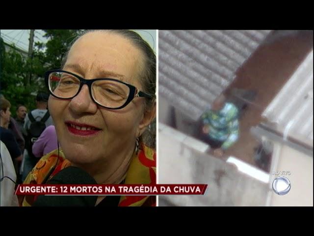 Esposa e sogra se emocionam ao ter notícias de vítima da enchente ao vivo
