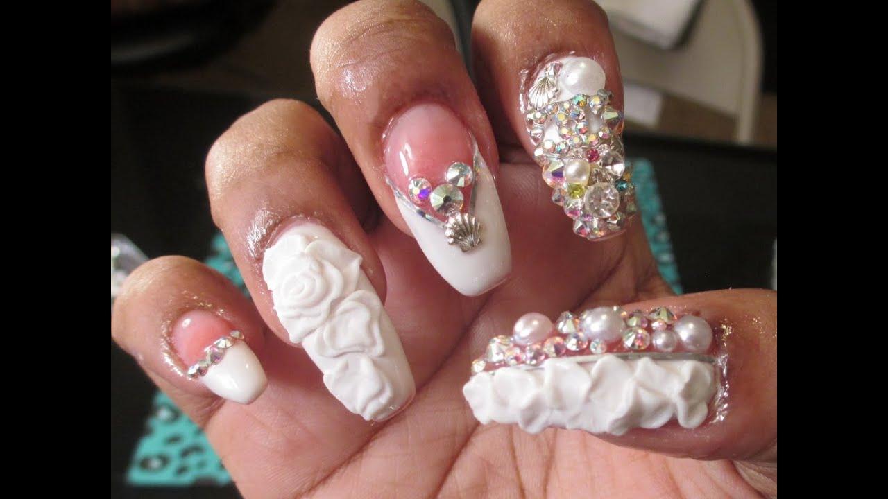 bridal bling nails with gel polish