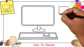 How to draw a computer EASY step by step for kids, beginners, children 1