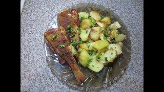 жареный окунь с картофелем