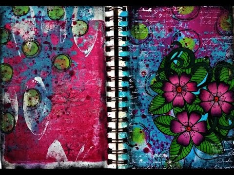 Art Journal Page Using Adult Coloring Book Image