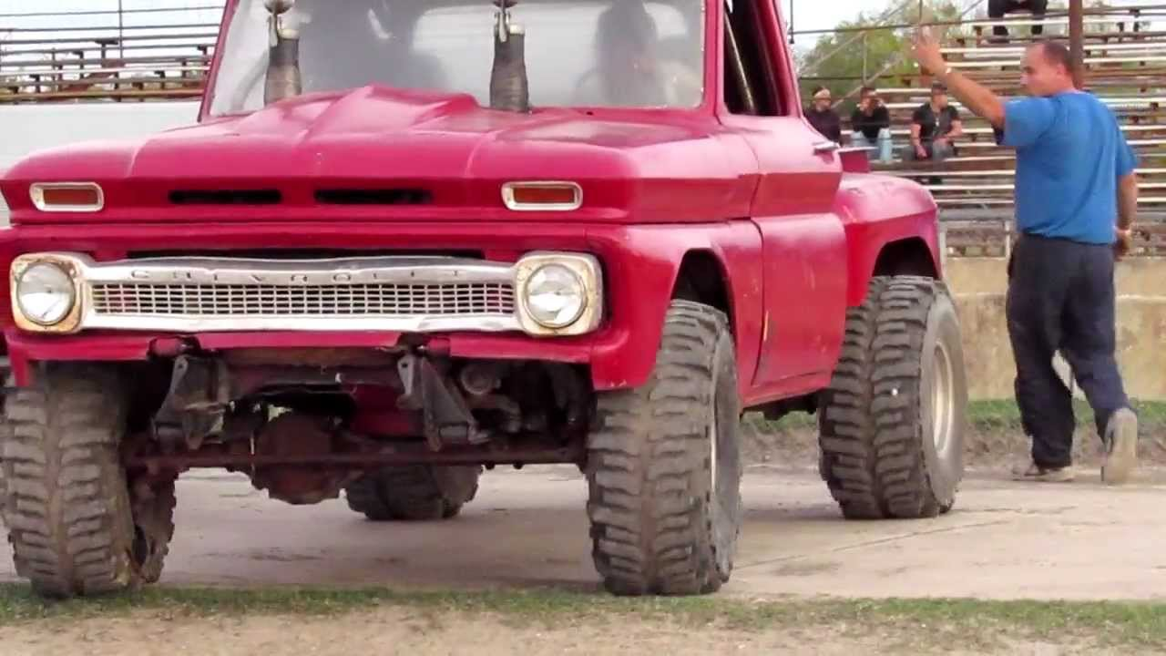 Come get SCHOOL'ED 1966 Chevy Step Side Mud Dragster - YouTube