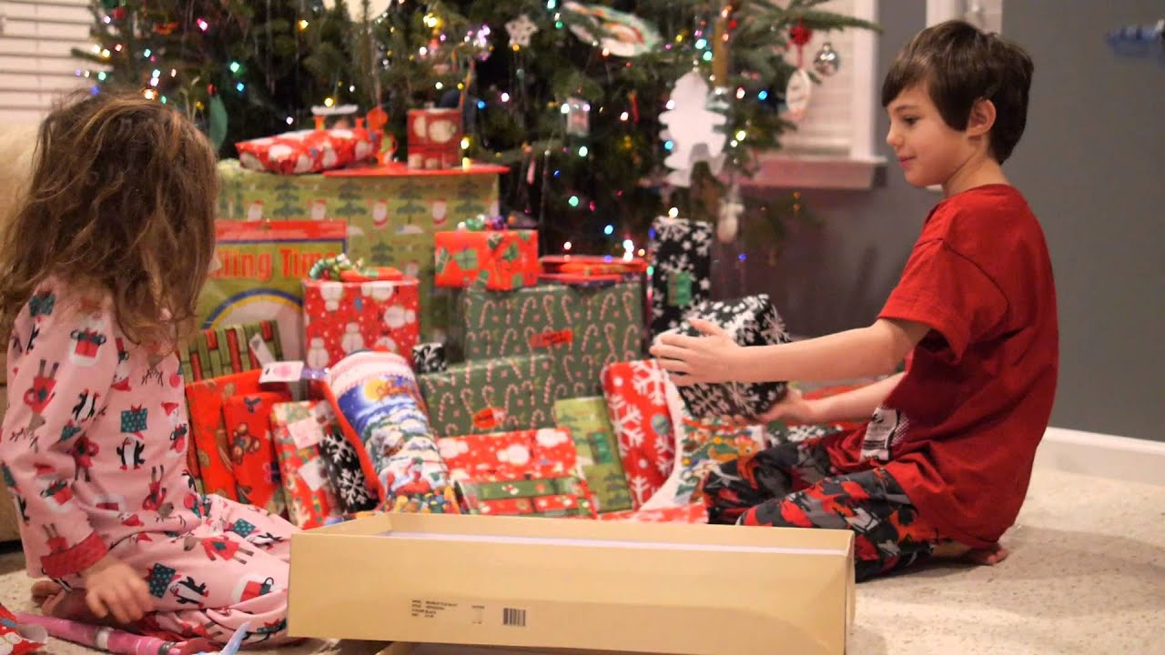 Kids Reaction Opening Presents On Christmas Day
