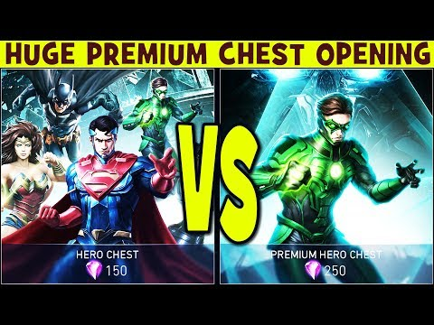 HUGE Premium Chest Opening in Injustice 2 Mobile 1.5. Gold hero chance. Legendary chest animation.