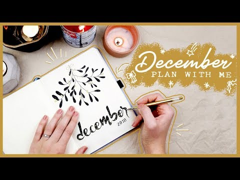STATIONARY GIVEAWAY & Bullet Journal PLAN WITH ME December 2018 Minimal Festive Black & Gold Theme