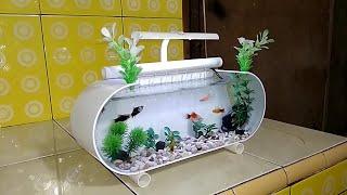 Gambar cover aqurium hias mini dari pipa pvc/mini ornamental aquarium from pvc pipes
