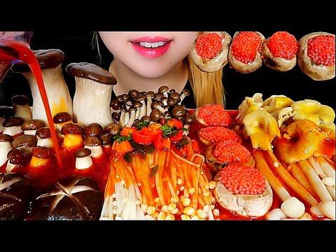 ASMR MUSHROOM FEAST 🍄(Feat. Flying Fish Roe) ENOKI, SHIITAKE, BUTTON MUSHROOM MUKBANG Eating Sounds