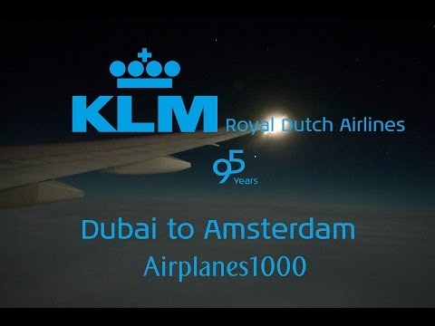 KLM Royal Dutch Airlines Boeing 777-200ER PH-BQP Dubai to Amsterdam *FULL FLIGHT*