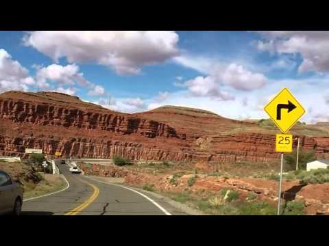 Roadview of drive from Page, Arizona to Moab, Utah