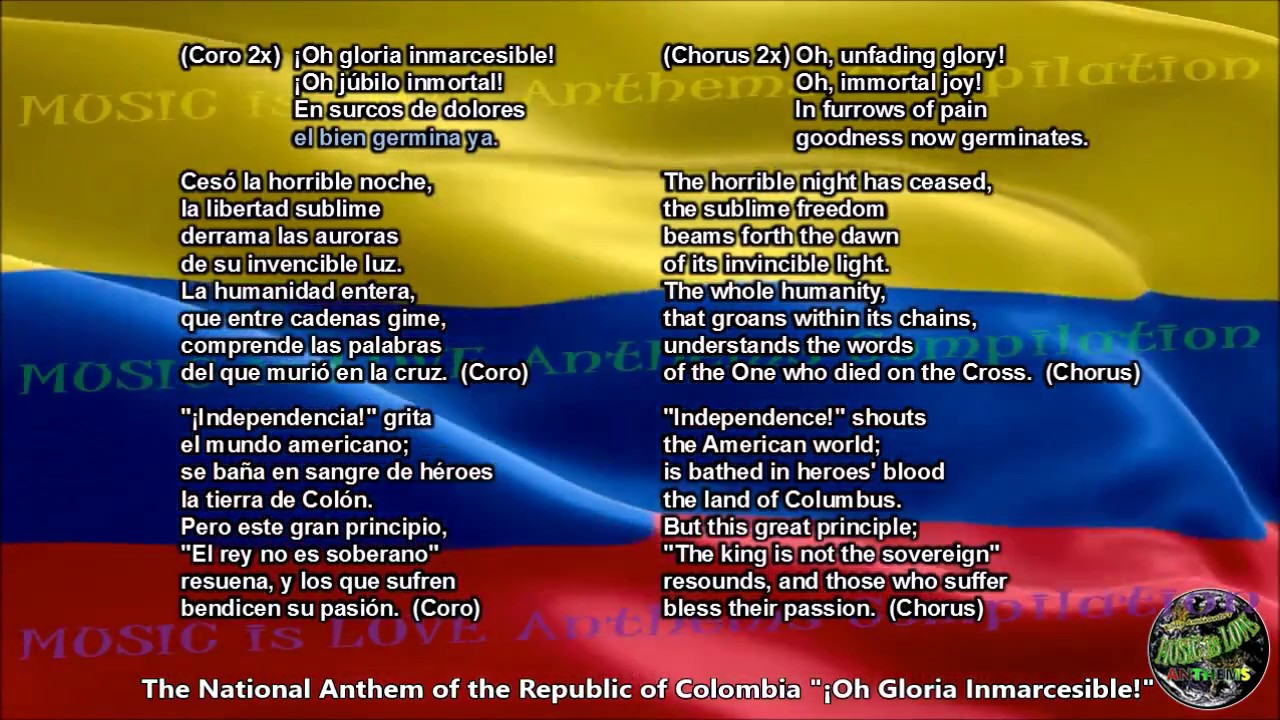 Colombia National Anthem With Music Vocal And Lyrics Spanish W English Translation