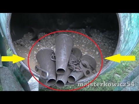 Piaskowanie z użyciem betoniarki - Cleaning rusted parts DIY Home Made