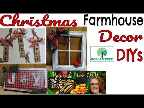 DOLLAR TREE CHRISTMAS FARMHOUSE DECOR DIY WALMART HOBBY LOBBY THRIFT STORE ITEMS