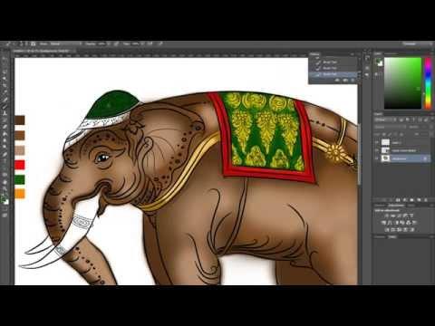 Adobe Illustrator : Drawing elephant Thailand line thai วาดช้างไทย ในโปรแกรม Adobe Illustrator