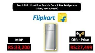 Bosch 288 L Frost Free Double Door 3 Star Refrigerator (Silver, KDN30VS30I)