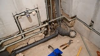 Своими руками прячем трубы в стены,в ванной комнате ч.4(В этом видео показано как переходить с металлических труб на пластиковые,как и какие нужно использовать..., 2016-03-23T09:00:34.000Z)