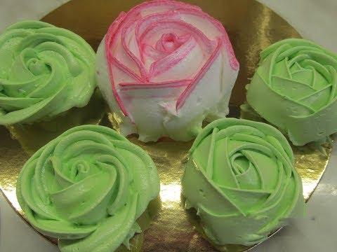 Розы из Белкового крема. Как сделать розы из крема.Кремовые цветы.Как пользоваться насадкой роза.