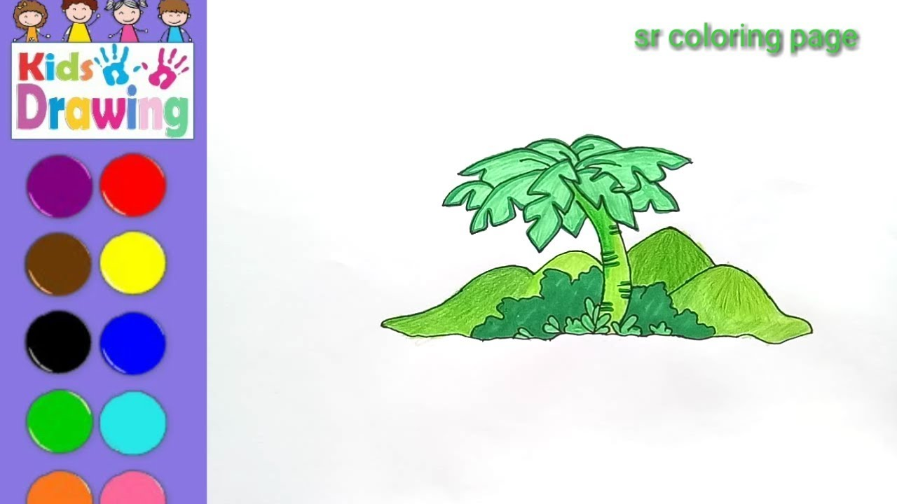 How to draw a palm tree scenery /coloring page for kids - YouTube