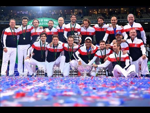 France Stars Celebrate after Capturing Davis Cup