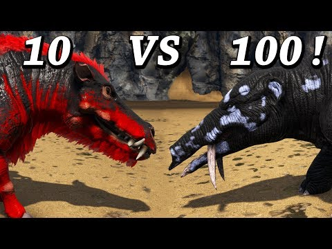 Daeodon Vs 100 Phiomia!! The Hell Pig Vs Normal Pig Ark