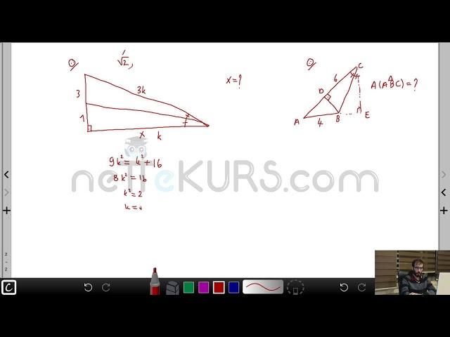 YÖS Geometri - Kenarortay Soru Çözümü / nettekurs.com - Uzaktan Eğitim YÖS Dershanesi