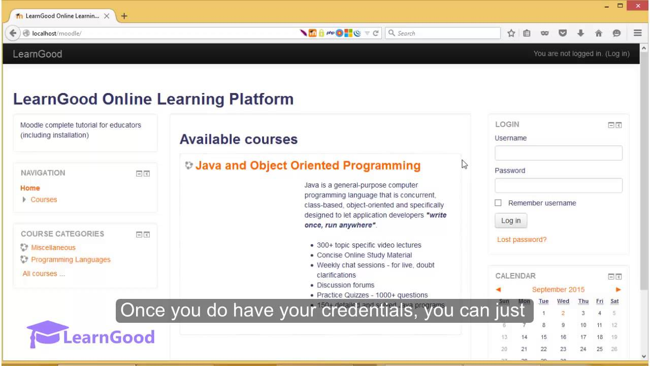 Moodle 3.0 Tutorial for Beginners - Login for the 1st time ...