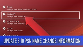 PS4 UPDATE 6.10 [Beta] PŠN Name Change Information | Change your Online ID