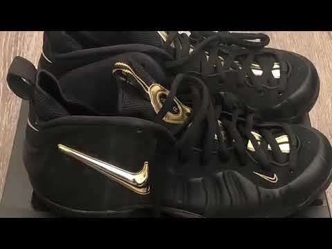 """43a59d7f35c2a Nike Air Foamposite Pro """"Metallic Gold"""" on foot review - YouTube"""