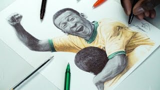 Pelé Pen Drawing - WORLD CUP 1970 - DeMoose Art