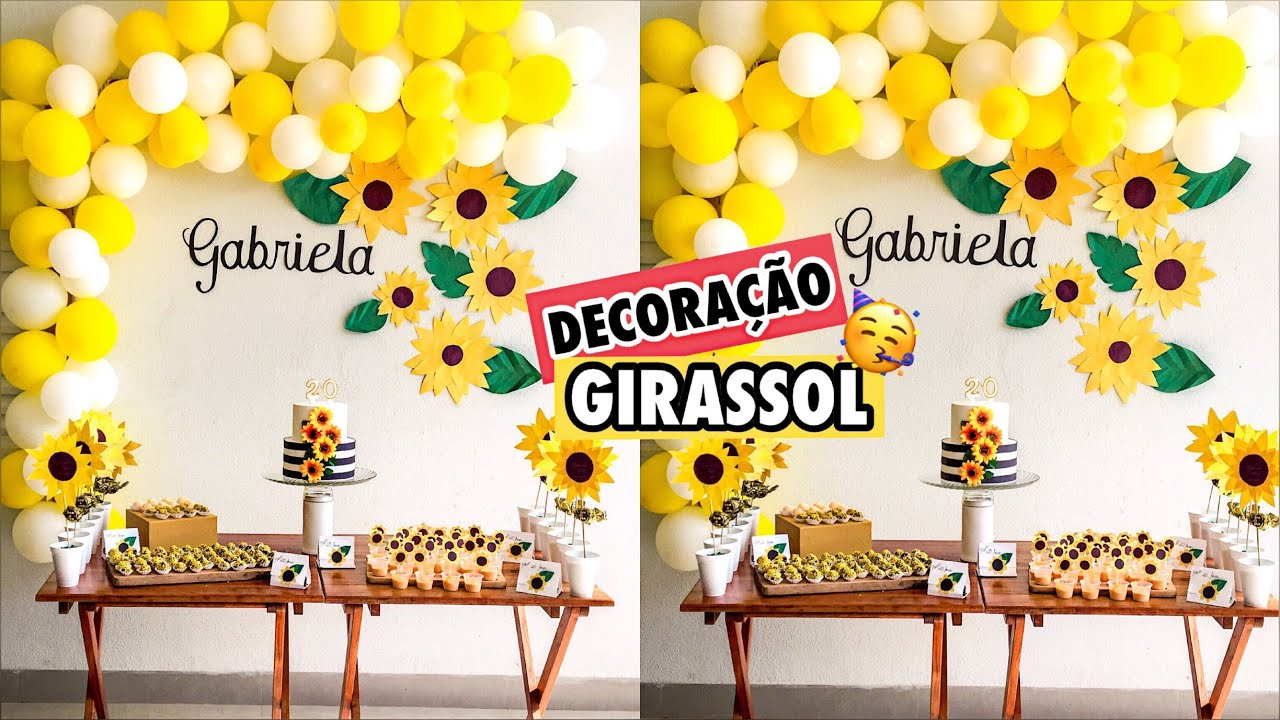DECORA u00c7ÃO FESTA GIRASSOL (faça voc u00ea mesmo) Ep 7 Gabriela Melo YouTube -> Decoração De Festa De Aniversario Girassol
