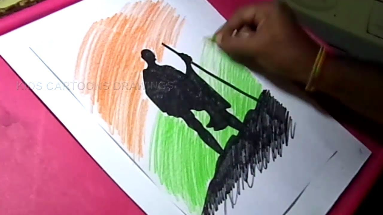 How to draw happy independence day gandhi drawing for kids