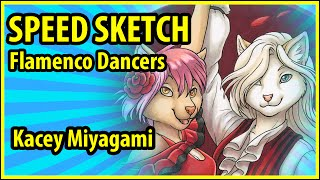 Furry Speed Draw Painting : Kacey Miyagami Speed Paints a Pair of Felines Flamenco Dancing