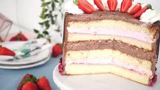 Fürst Pückler Torte mit Erdbeer Ganache & Drip Effekt - Erdbeer- & Schokocreme Torte - Kuchenfee CC