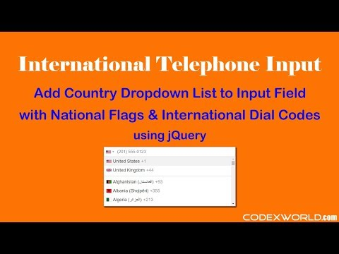International Telephone Input With Country Flags And Dial Codes Using JQuery