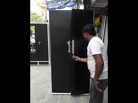 Life Partner Steel furniture Indore simple black and white almirah black  doors without mirror