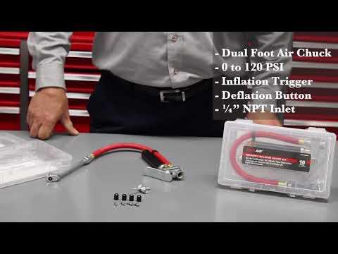 EXELAIR™ Analog Bayonet Tire Inflator Gauge Kit - Air Compressor Accessories