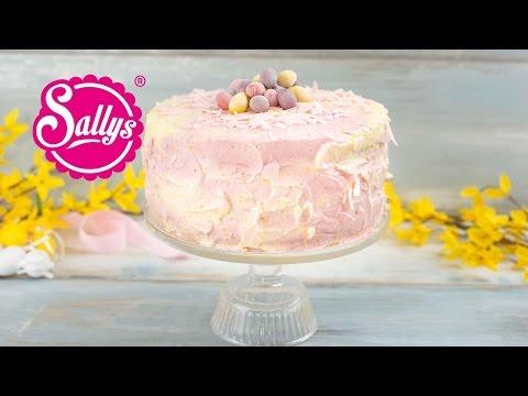 Ostertorte marmoriert / fruchtige Himbeer-Pfirsich-Torte