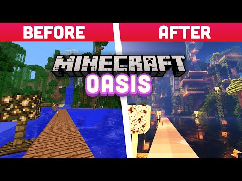 Default Texture vs Ray Tracing in Minecraft Oasis