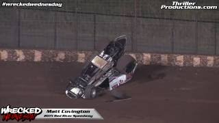 Wrecked Wednesday 14 Matt Covington Flip at Red River Speedway in 2015